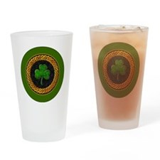 CELTIC-SHAMROCK-3-INCH-BUTTON Drinking Glass