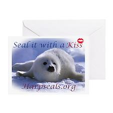 seal-kiss2b Greeting Card