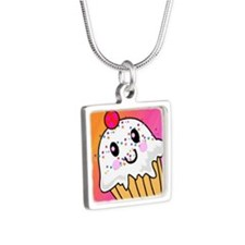 CUPCAKE-1x1_button Silver Square Necklace