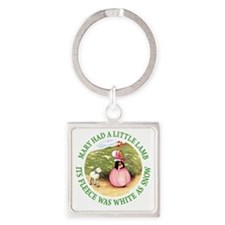 MARY HAD A LITTLE LAMB_GREEN Square Keychain