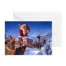 SANTA ON THE ROOFTOP 10 Pk Greeting Cards