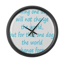 Save dog aqua Large Wall Clock