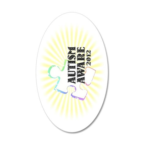 autismaware2012-rotated 35x21 Oval Wall Decal