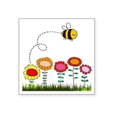 "Bee Buzzing Flower Garden S Square Sticker 3"" x 3"""