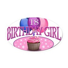 BDayGirl-18 Oval Car Magnet