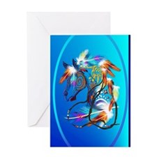 Jewel Oval Bright Horse 2 Greeting Card