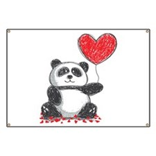 Panda with Heart Balloon Banner