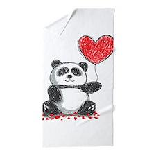 Panda with Heart Balloon Beach Towel