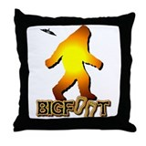 Bigfoot in Orange Throw Pillow