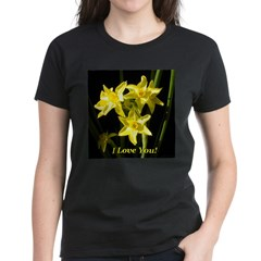 I Love You Daffodils Women's Dark T-Shirt
