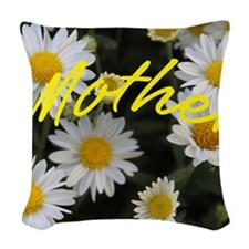 Profusion Of White Daisy Mums- Woven Throw Pillow