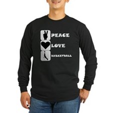 Peace Love Basketball Long Sleeve T-Shirt