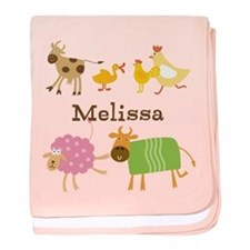 Customized Farm Animals Baby Blanket