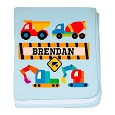 Custom Construction Vehicles Baby Blanket