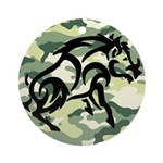 woodland Camo blk boar Round Ornament