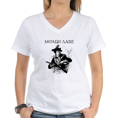 Molon Labe Minuteman Women's V-Neck T-Shirt