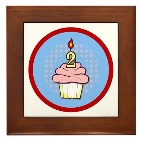 2nd Birthday Cupcake (girl) Framed Tile