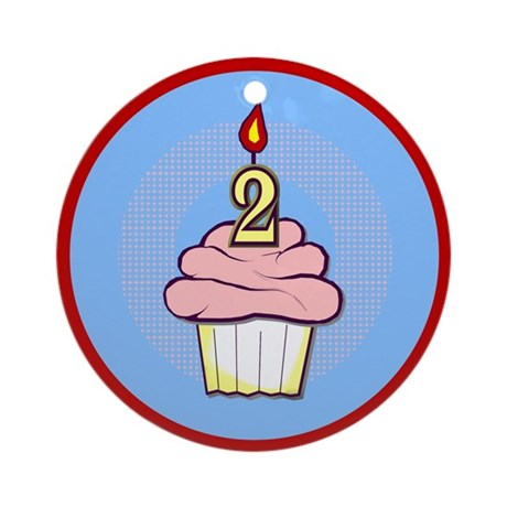 2nd Birthday Cupcake (girl) Ornament (Round)
