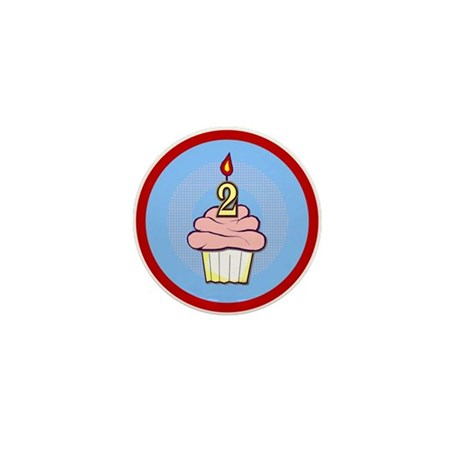 2nd Birthday Cupcake (girl) Mini Button