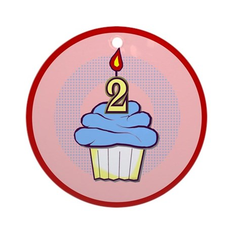 2nd Birthday Cupcake (boy) Ornament (Round)