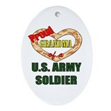 Proud Army Grandma Oval Ornament