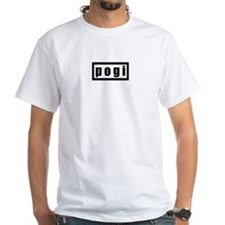 Men's White Pogi T-Shirt (black)