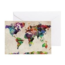 World Map Urban Watercolor 14x10 Greeting Card