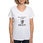 Will Crochet for Beer Women's V-Neck T-Shirt