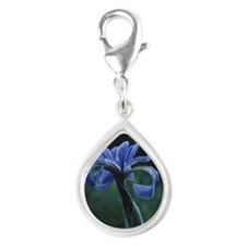 Blue iris blossom with morn Silver Teardrop Charm