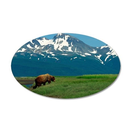 Grizzly bear in a valley 35x21 Oval Wall Decal