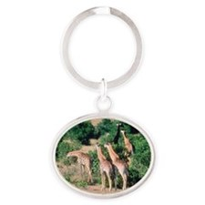 Giraffes on savanna, Kenya Oval Keychain