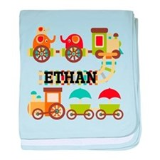 Personalized Train Baby Blanket