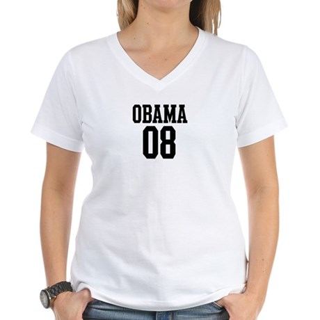 Obama 08 Women's V-Neck T-Shirt