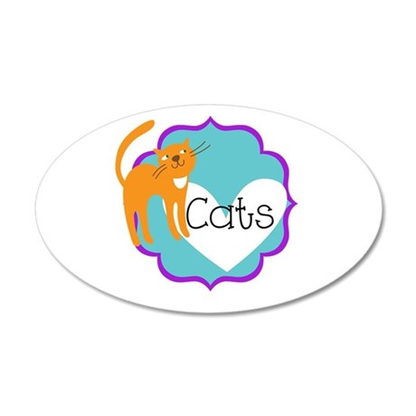 Love Cats 20x12 Oval Wall Decal