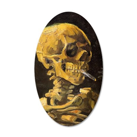Van Gogh Skull With Burning  35x21 Oval Wall Decal
