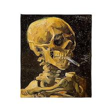 Van Gogh Skull With Burning Cigarett Throw Blanket