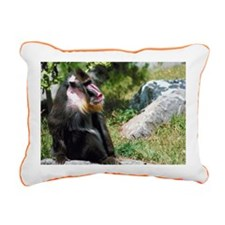 Mandrill on rock Rectangular Canvas Pillow