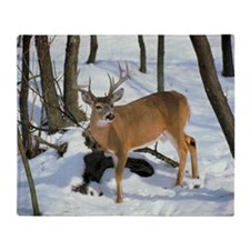 Deer in winter Throw Blanket
