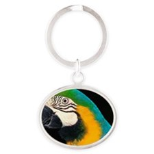 Blue and gold macaw Oval Keychain