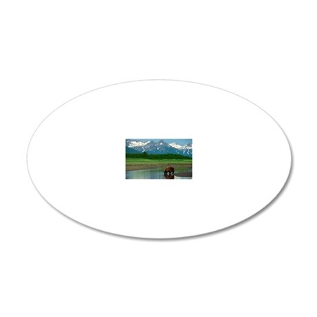 Grizzly bear 20x12 Oval Wall Decal