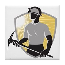 Coal Miner With Pick Ax Shield Retro Tile Coaster