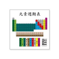 "Periodic Table 10X10 No Dat Square Sticker 3"" x 3"""