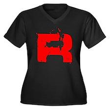 Broken Rocke Women's Plus Size Dark V-Neck T-Shirt