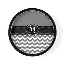 Gray Black Chevron Monogram Wall Clock