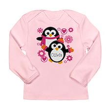 Hip Penguins Custom Long Sleeve Infant T-Shirt