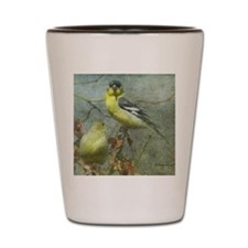 Goldfinch Pair Layered Textures Shot Glass