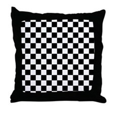 black checkered board Throw Pillow