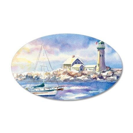 1ScituateHarborWSigCARD 35x21 Oval Wall Decal