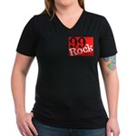 NEW 99Rock Women's V-Neck Dark T-Shirt