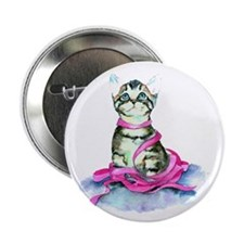 """Pink Ribbon Kitty 2.25"""" Button (10 pack)"""